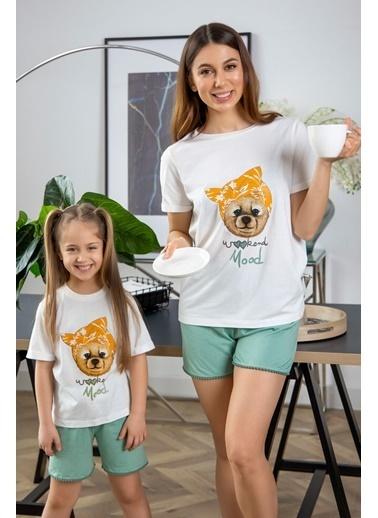 Katia & Bony Teddy Bear Basklı şortlu Kız Çocuk Pijama Takımı - Beyaz Ekru